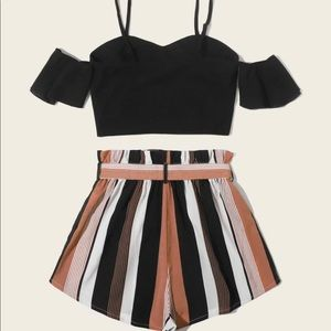 Top and paperbag waist belted shorts